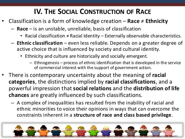 • It is suggested that the social construction of race evolved through four stages that  reflect the influence of the poli...