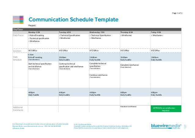 Page 1 of 1  Communication Schedule Template Project: Day/Date: Monday: 5/08  Tuesday: 6/08  Wednesday: 7/08  Daily Focus ...