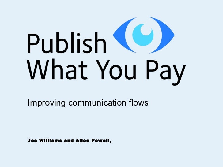 Joe Williams and Alice Powell,  Improving communication flows