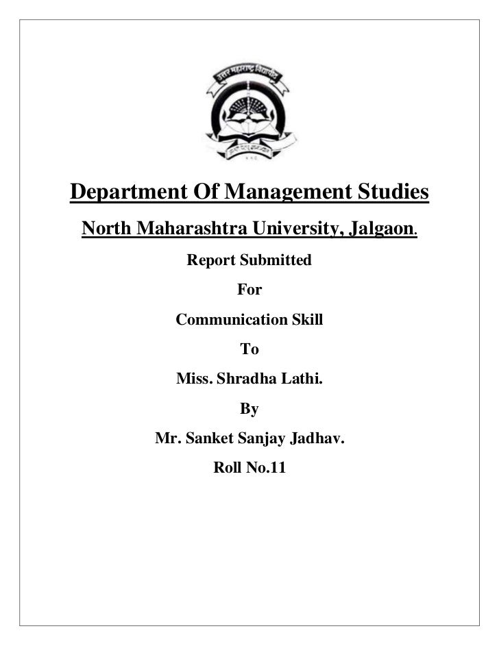 Department Of Management Studies North Maharashtra University, Jalgaon.             Report Submitted                   For...