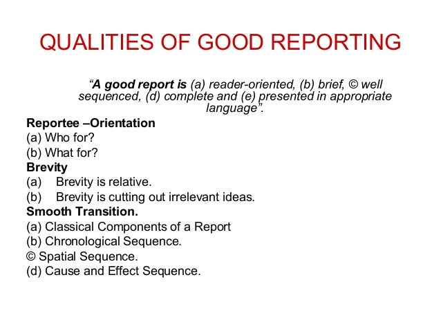 Qualities of good business report