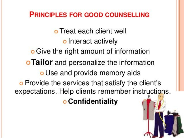 THE ELEMENTS OF COUNSELLING G A T H E R Greet Ask Tell Help Explain Return visit