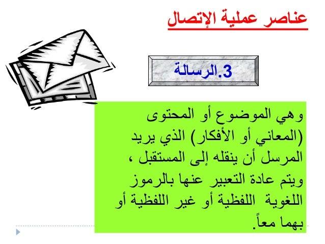 عملية عناصراإلتصال بها يتم التي الطريقة هي تليف مثل الرسالة توصيلون, جريدة بريد,إذاعة تلف...
