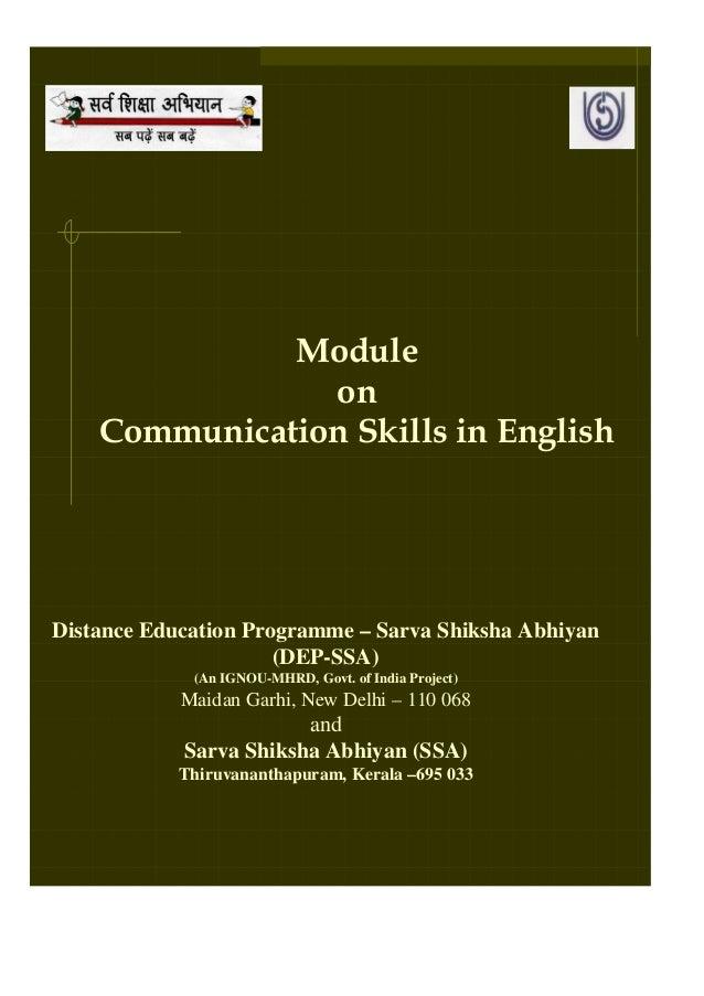 Module                on    Communication Skills in EnglishDistance Education Programme – Sarva Shiksha Abhiyan           ...