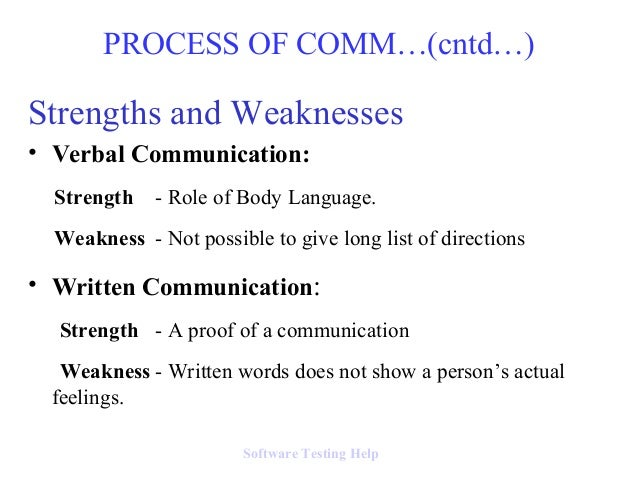 strengths and weakness of communication skills Weaknesses in verbal communication come from ineffective communication skills  when communicating verbally, there are many ways to be misunderstood.