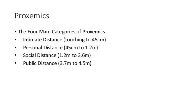 Proxemics • The Four Main Categories of Proxemics • Intimate Distance (touching to 45cm) • Personal Distance (45cm to 1.2m...