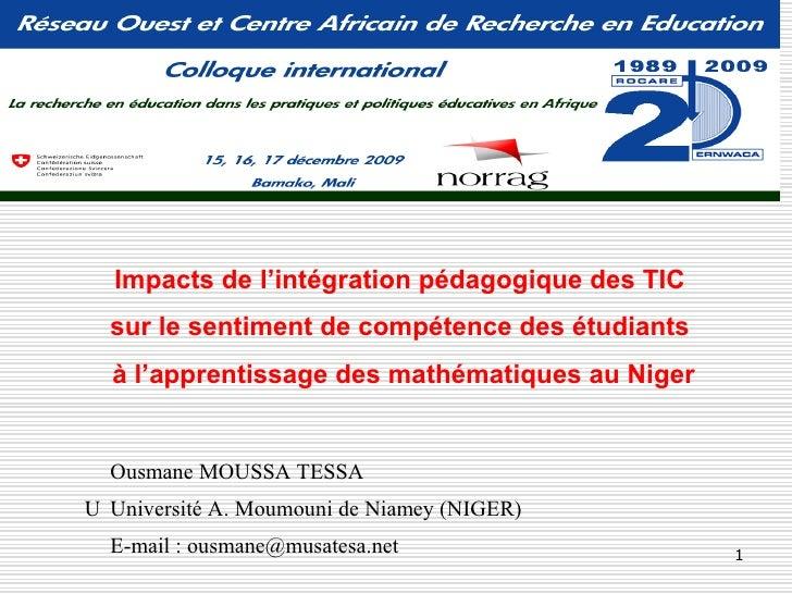 Impacts de l'intégration pédagogique des TIC   sur le sentiment de compétence des étudiants   à l'apprentissage des mathém...