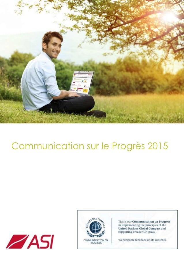 1 Communication sur le Progrès 2015
