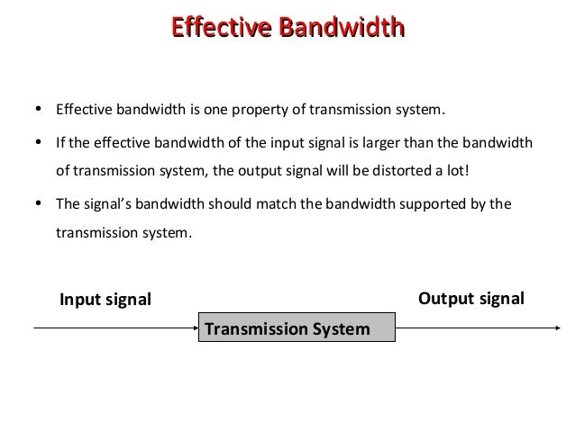 Effective BandwidthEffective Bandwidth • Effective bandwidth is one property of transmission system. • If the effective ba...