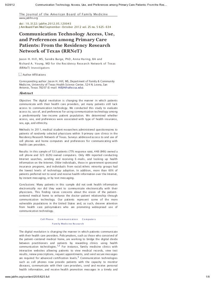 9/28/12                 Communication Technology Access, Use, and Preferences among Primary Care Patients: From the Res…  ...