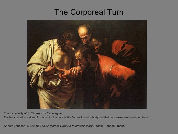 The Corporeal TurnThe Incredulity of St Thomas by CaravaggioThe basic physical nature of communication rests in the fact w...
