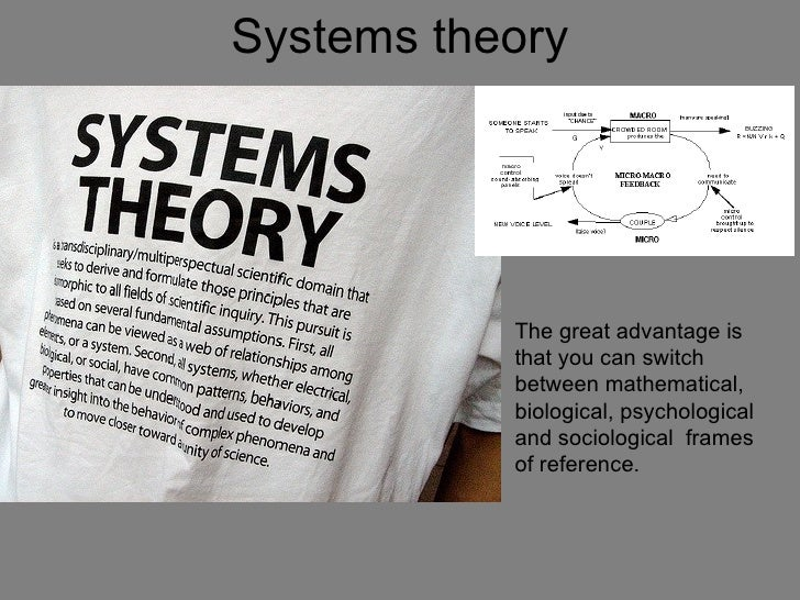 Systems theory           The great advantage is           that you can switch           between mathematical,           bi...