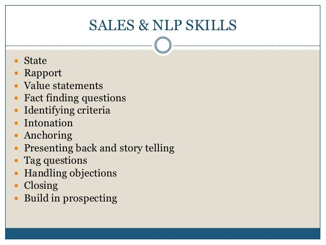 Selling technique - With NLP