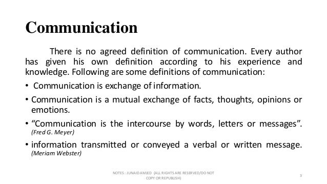 communication definition by different authors