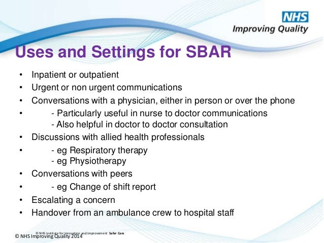 sbar communication Safe communication design, implement and measure: a guide to standardised communication tools such as sbar (situation, background, assessment.
