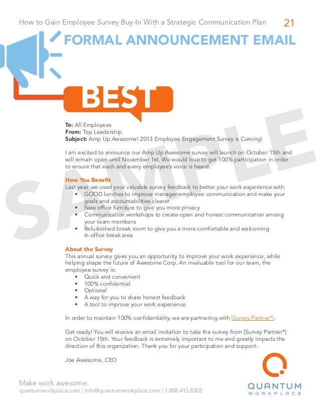 Sneak Peek How To Gain Employee Survey BuyIn With A Strategic Comm
