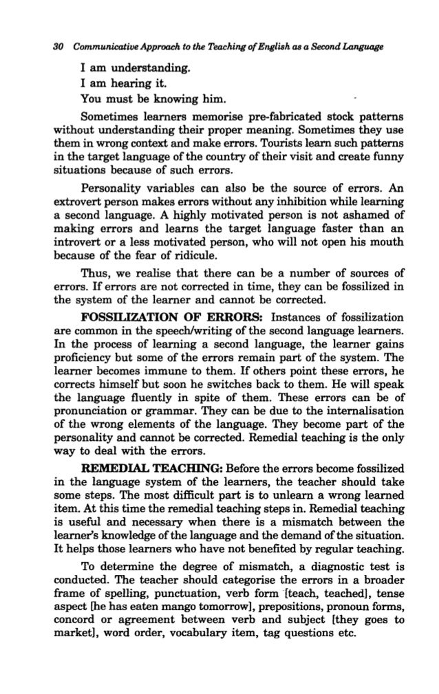 Communicative Approach To The Teaching Of English As A Second Languag