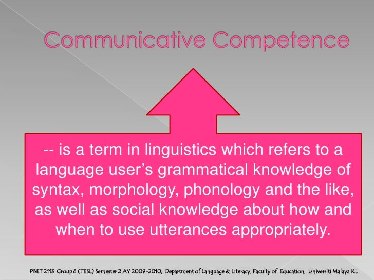 communicative competence refers to the Communicative competence is a term in linguistics which refers to a language user's grammatical knowledge of syntax , morphology , phonology and the like, as well as social knowledge about how and when to use utterances appropriately.