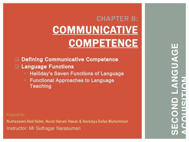  Defining Communicative Competence Language Functions Halliday's Seven Functions of Language Functional Approaches to ...