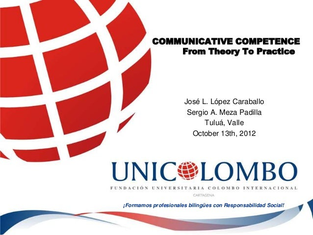 COMMUNICATIVE COMPETENCE               From Theory To Practice                       José L. López Caraballo              ...
