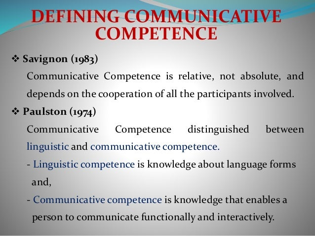 communication competency Self-perceived communication competence scale (spcc) the self-perceived communication competence scale was developed to obtain information concerning how competent.