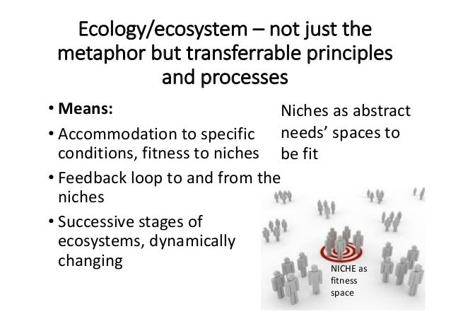 Ecology/ecosystem– notjustthe metaphorbuttransferrableprinciples andprocesses • Means: • Accommodationtospecifi...