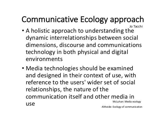 CommunicativeEcologyapproach • Aholisticapproachtounderstandingthe dynamicinterrelationshipsbetweensocial dime...