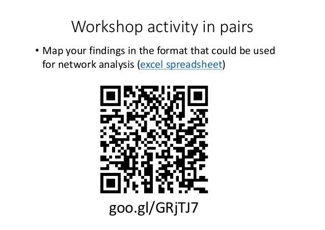 Workshopactivityinpairs • Mapyourfindingsintheformatthatcouldbeused fornetworkanalysis(excelspreadsheet) ...