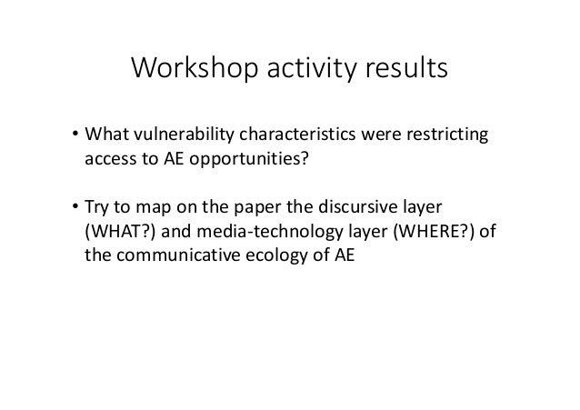Workshopactivityresults • Whatvulnerabilitycharacteristicswererestricting accesstoAEopportunities? • Trytomap...