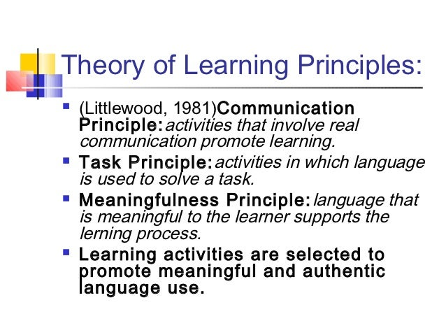theories and principles of learning and communication