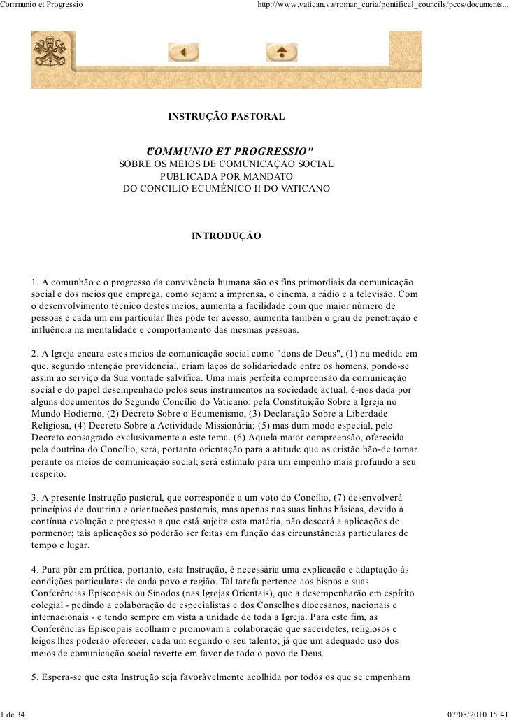 Communio et Progressio                                           http://www.vatican.va/roman_curia/pontifical_councils/pcc...