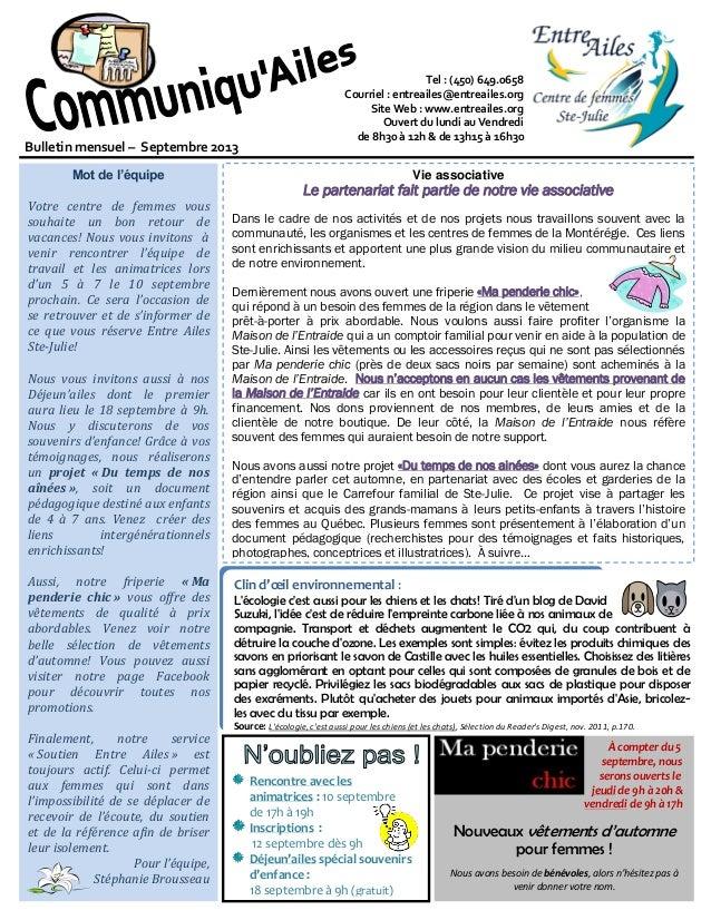 Tel : (450) 649.0658 Courriel : entreailes@entreailes.org Site Web : www.entreailes.org Ouvert du lundi au Vendredi de 8h3...