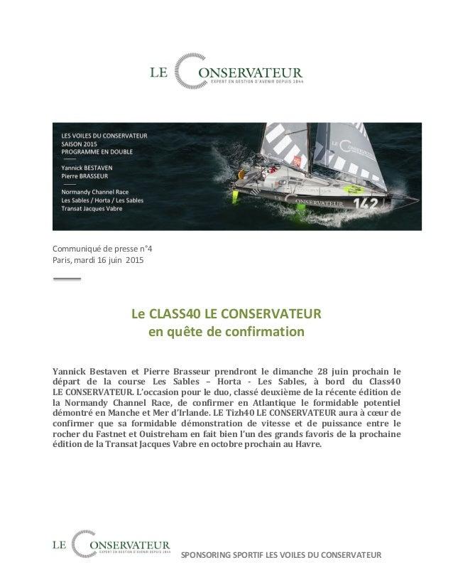 SPONSORING  SPORTIF  LES  VOILES  DU  CONSERVATEUR                     Communiqué...