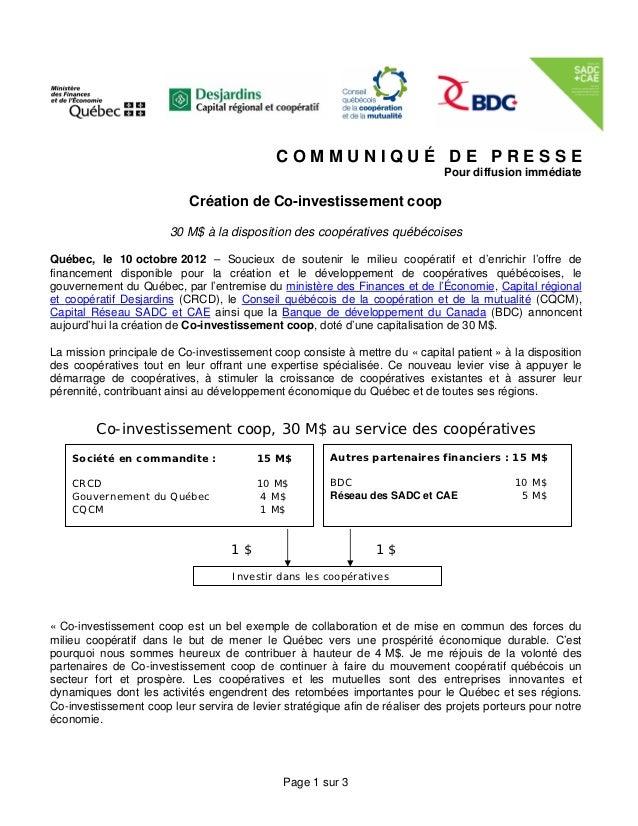 COMMUNIQUÉ DE PRESSE                                                                              Pour diffusion immédiate...