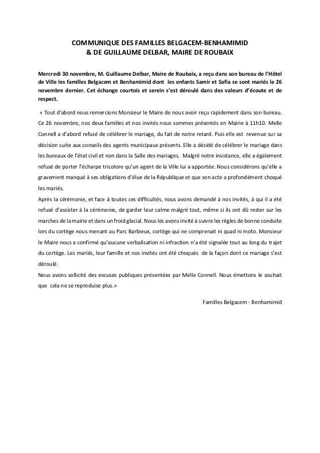 COMMUNIQUE DES FAMILLES BELGACEM-BENHAMIMID & DE GUILLAUME DELBAR, MAIRE DE ROUBAIX Mercredi 30 novembre, M. Guillaume Del...