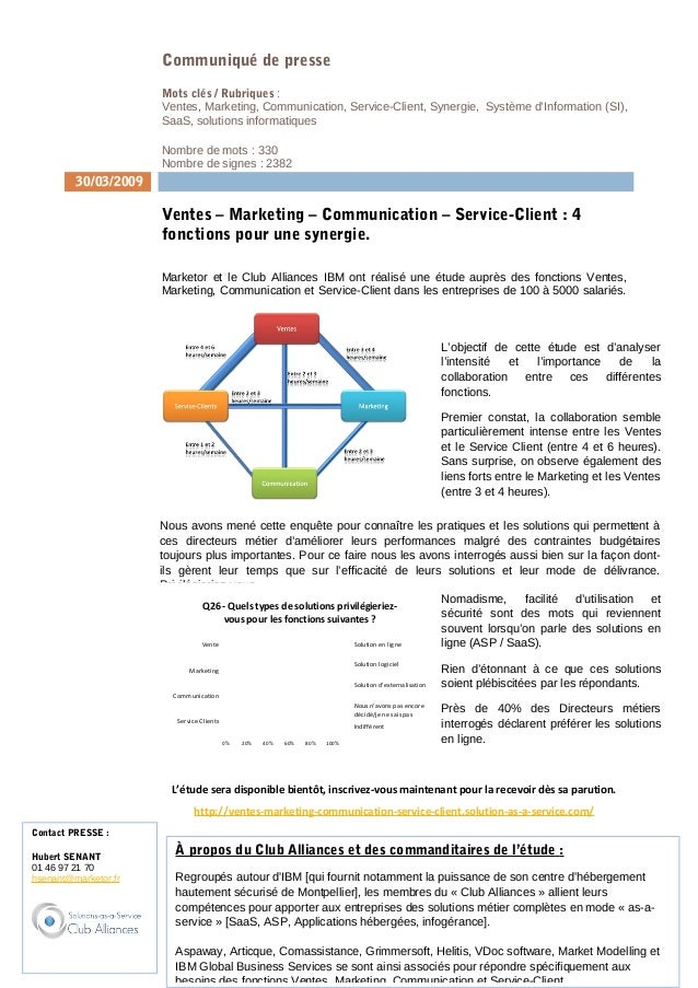 Communiqué de presse Mots clés / Rubriques : Ventes, Marketing, Communication, Service-Client, Synergie, Système d'Informa...
