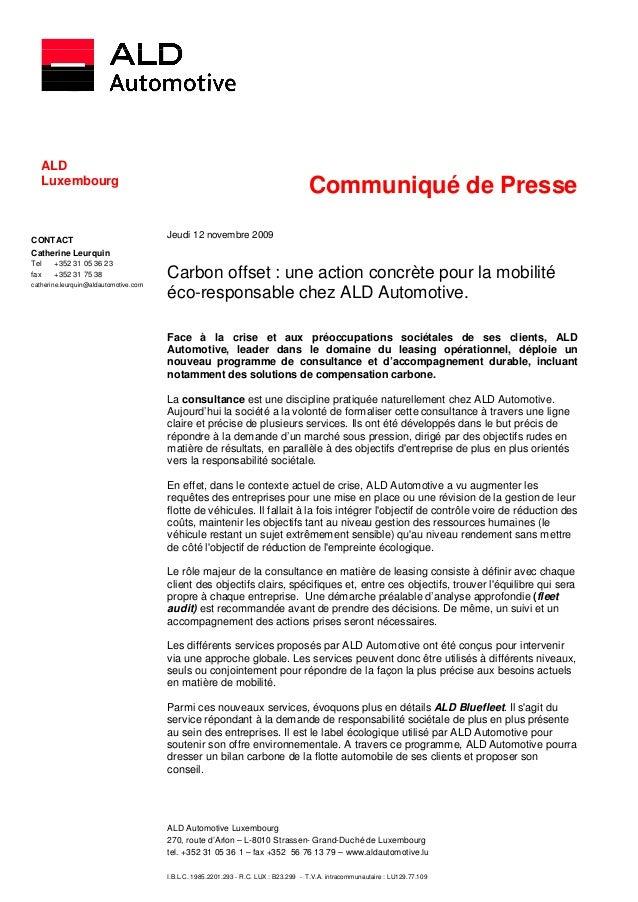 ALD   ALD   Luxembourg                                                                                     Communiqué de P...