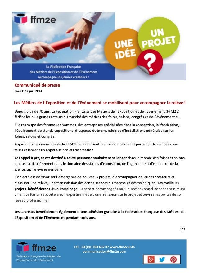 La Fédération Française des Métiers de l'Exposition et de l'Evénement accompagne les jeunes créateurs ! Les Métiers de l'E...