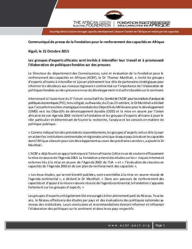 w w w . a c b f - p a c t . o r g Page 1 Communiqué de presse de la Fondation pour le renforcement des capacités en Afriqu...