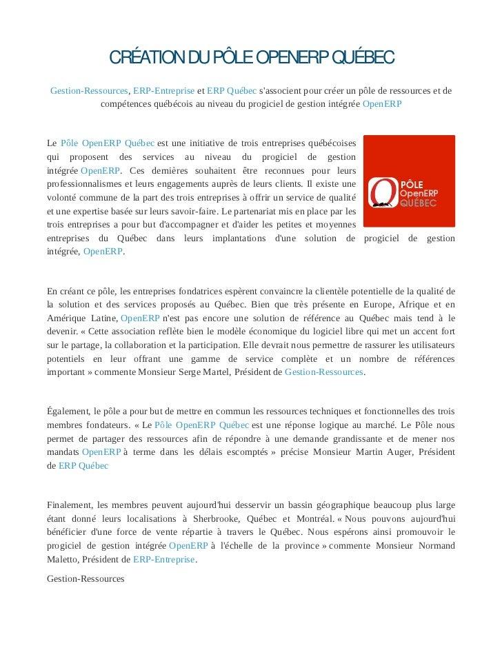 Communiqué de presse Création du Pôle OpenERP Québec