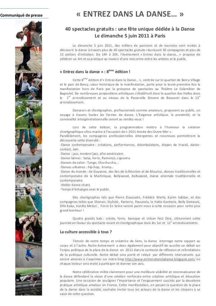 Communiqué de presse              « ENTREZ DANS LA DANSE… »                          40 spectacles gratuits : une fête uni...