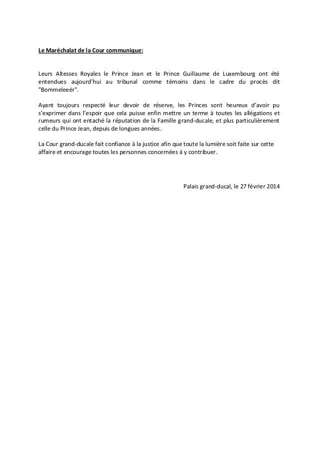 Le Maréchalat de la Cour communique:  Leurs Altesses Royales le Prince Jean et le Prince Guillaume de Luxembourg ont été e...