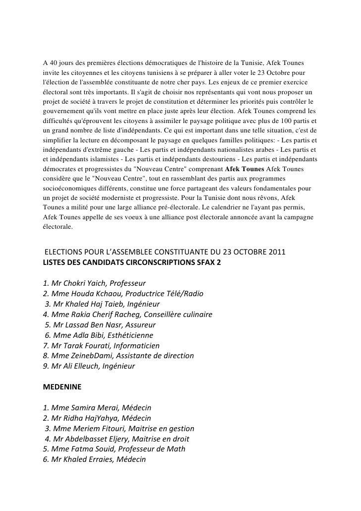 A 40 jours des premières élections démocratiques de lhistoire de la Tunisie, Afek Tounesinvite les citoyennes et les citoy...