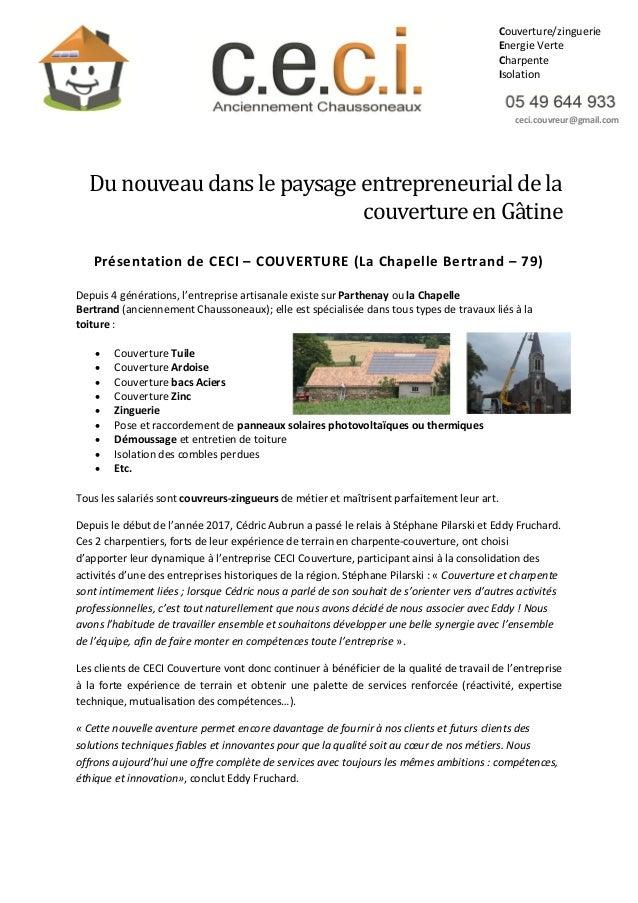 Du nouveau dans le paysage entrepreneurial de la couverture en Gatine Présentation de CECI – COUVERTURE (La Chapelle Bertr...