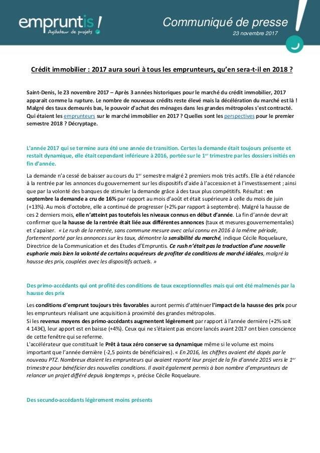 Crédit immobilier : 2017 aura souri à tous les emprunteurs, qu'en sera-t-il en 2018 ? Saint-Denis, le 23 novembre 2017 – A...