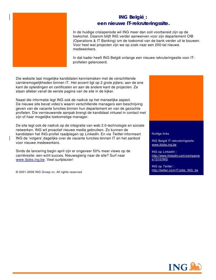 ING België :                                                     een nieuwe IT-rekruteringssite.                          ...