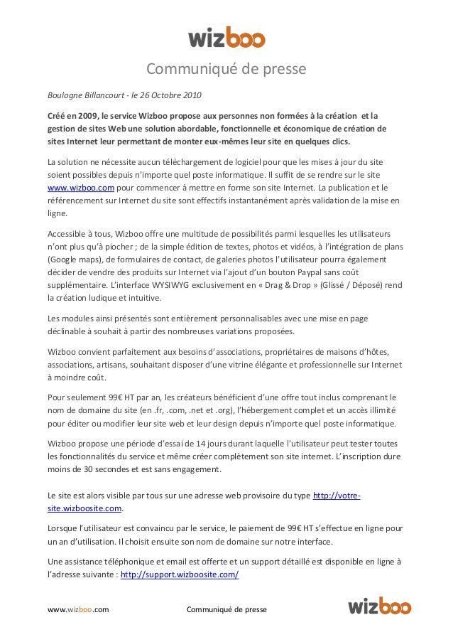 www.wizboo.com Communiqué de presse Communiqué de presse Boulogne Billancourt - le 26 Octobre 2010 Créé en 2009, le servic...