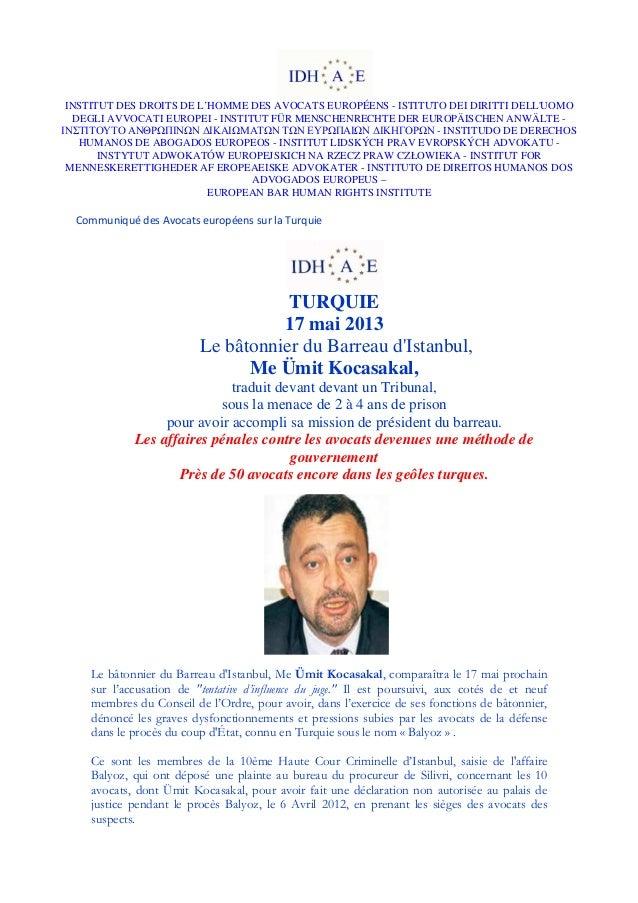 INSTITUT DES DROITS DE L'HOMME DES AVOCATS EUROPÉENS - ISTITUTO DEI DIRITTI DELLUOMODEGLI AVVOCATI EUROPEI - INSTITUT FÜR ...