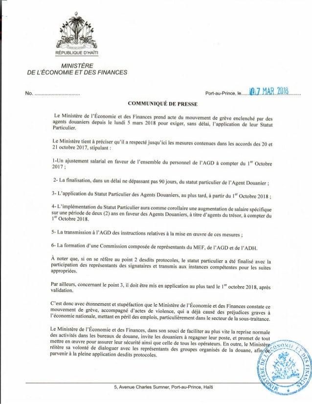 Communiqué du MEF_Relatif au mouvement de grève à la Douane