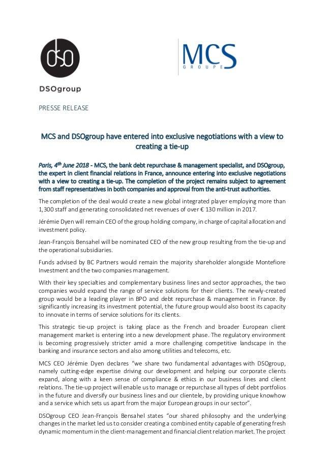Le Groupe MCS et DSOgroup entrent en négotiation exclusive